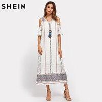 SHEIN Tribal Print Open Shoulder Tiered Hem Dress White Cold Shoulder Half Sleeve Women S Dresses