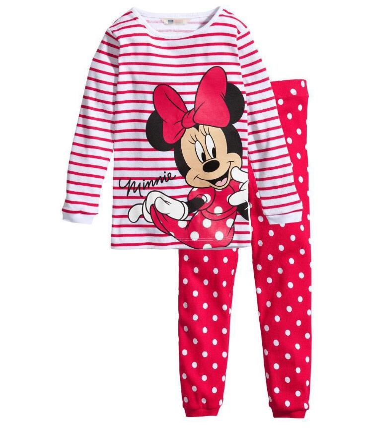 2PCS Kids Baby Pajamas Set Toddler Kid Boys Girls Minnie Mickey Pijamas Long Sleeve Pyjamas set Tops Long Pants Sleepwear 2-7 Y lovely spring pure cotton thomas and friends children clothing long sleeve tops pants for 2 7 years boy kids pajamas sleepwear