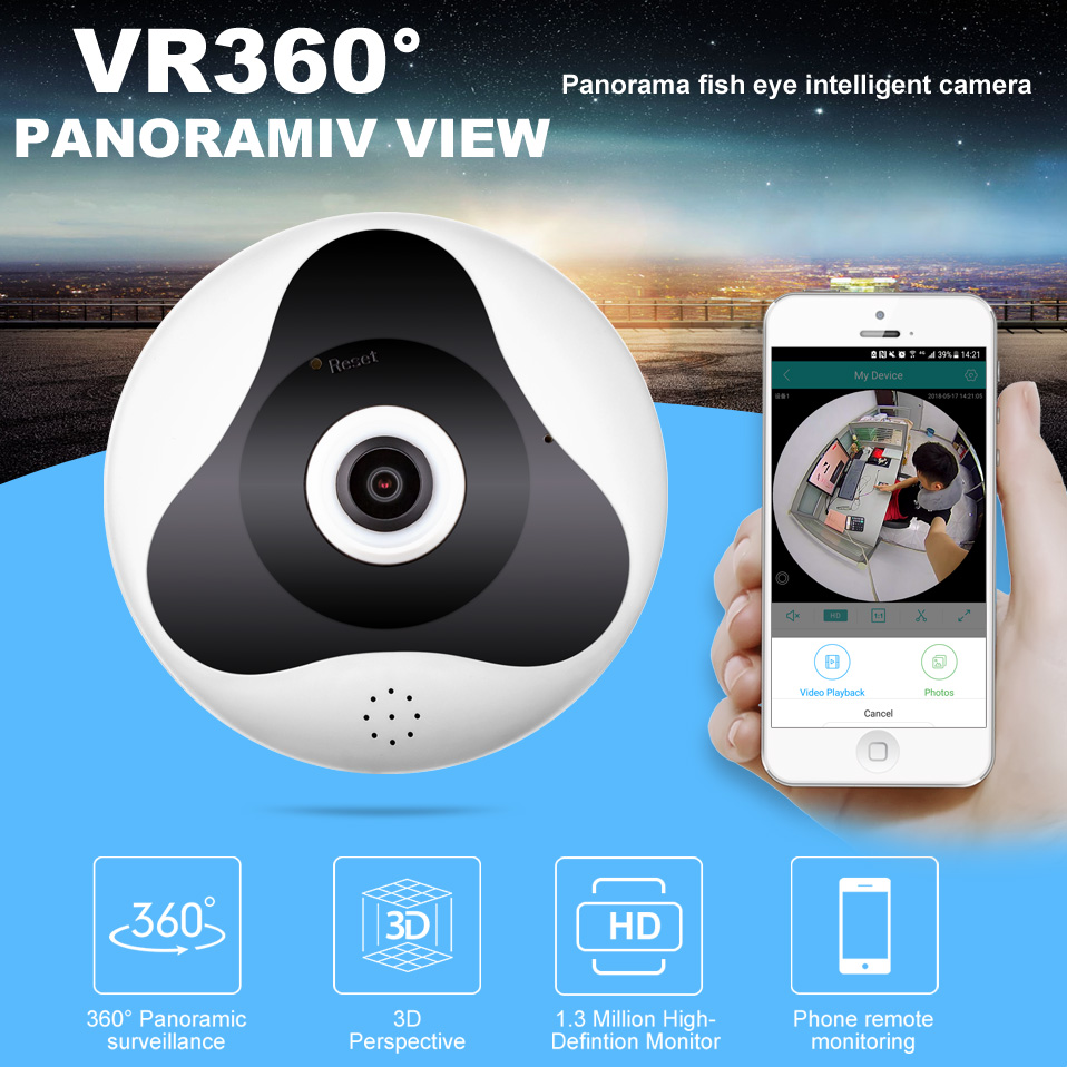 Wifi Mini IP Camera 360 Degree Home Security Wireless Panoramic Fisheye CCTV Camera 1.3MP 960P HD Video Security Camera
