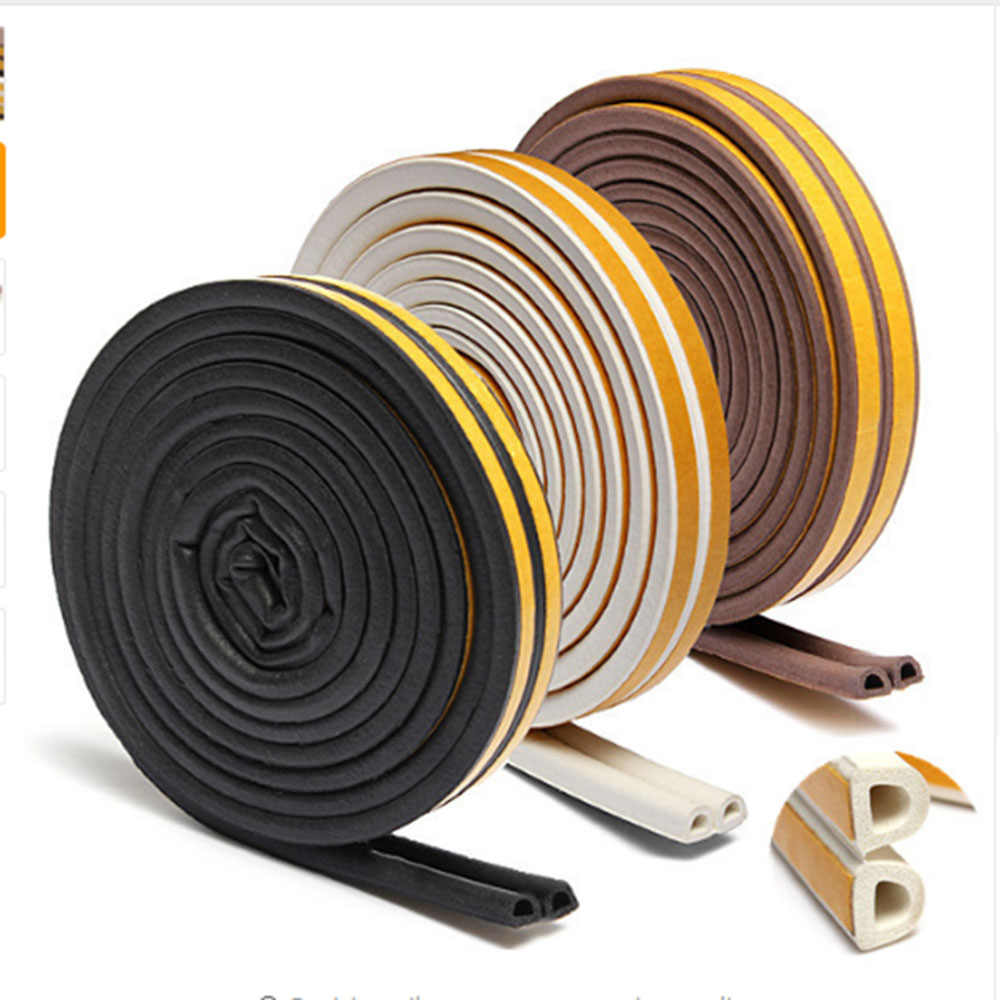 Useful 1Pc 5m Self-Adhesive D Type Doors Windows Foam Seal Strip Soundproofing Collision Avoidance Rubber Sealing Strips Sticker
