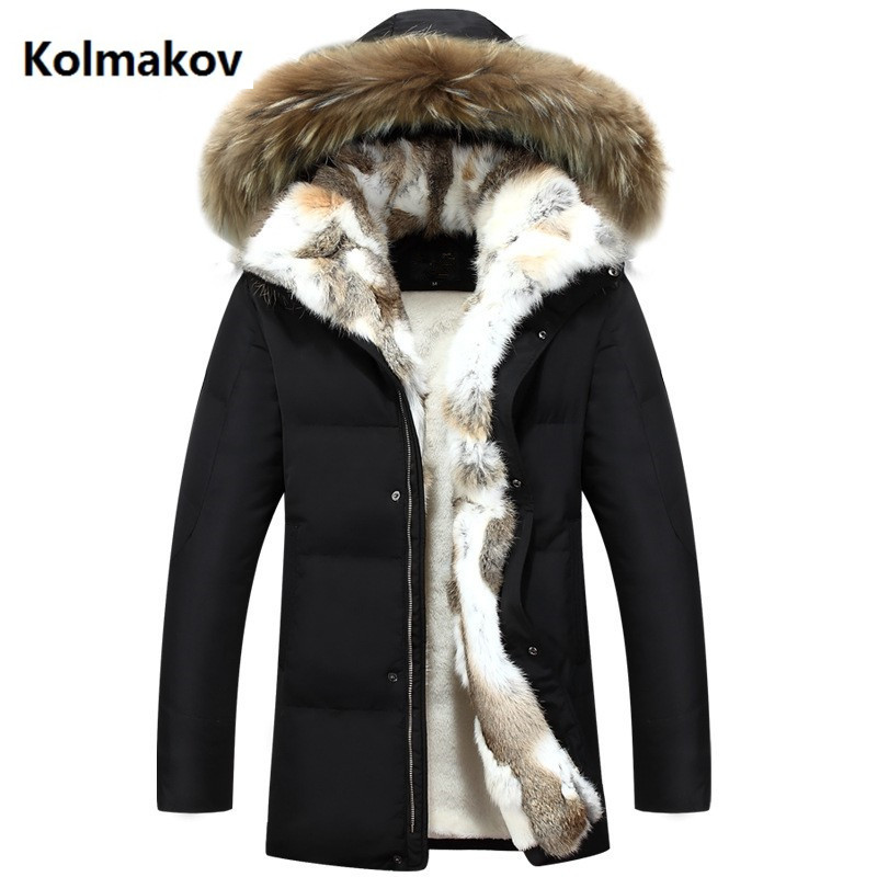 2018 Winter Men and women high quality   Down   Jackets Men's Fashion Rabbit's hair   down   Jacket Casual Thicken Parkas   coat   men S-5XL
