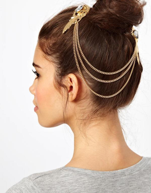 Women Girl BOHO Bohemian Silver color Moon bar hair head Clip Brooch Cuff Pin