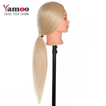 40 % Human Hair thick can be curled Training Head blonde For Salon Hairdressing Mannequin Dolls professional styling head