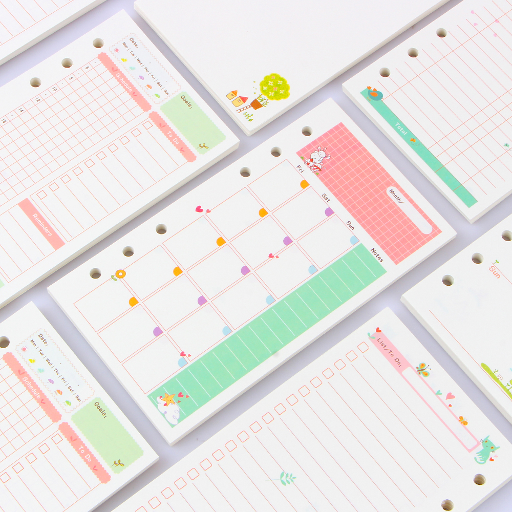 2016 New cute spiral inner paper core stationery for notebook,7 kinds:line,grid,blank,point,to do ,daily/month/week planner A5A6