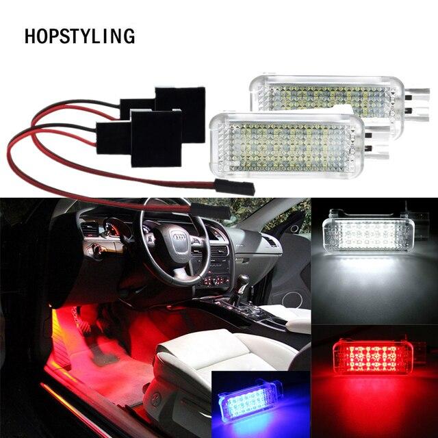 2x biały czerwony niebieski 18 LED Auto drzwi lampka grzecznościowa samochód Footwell/lampa bagażnika światło dla Audi A4 A6 VW Touareg Tiguan Skoda Octavia2