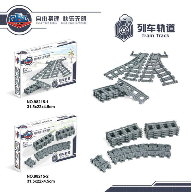Legoings City Trains Flexible Track Rail Crossing Straight Curved Rails Building Blocks Train Parts Bricks Toys for Children