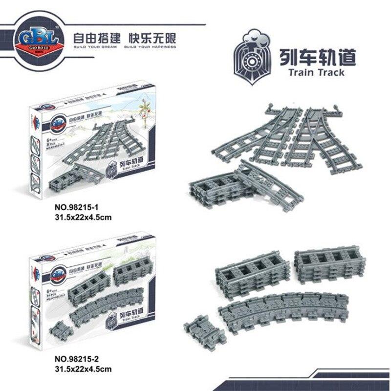 Legoings City trenes pista Flexible Rail cruce recto curvado rieles bloques de construcción piezas del tren ladrillos juguetes para niños