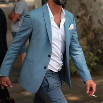 Casual Blue 2Pieces Costume Homme Terno Groom Tuxedos Groomsmen Mens Wedding Suits Slim Fit Blazer(Jacket+Pants+Tie)