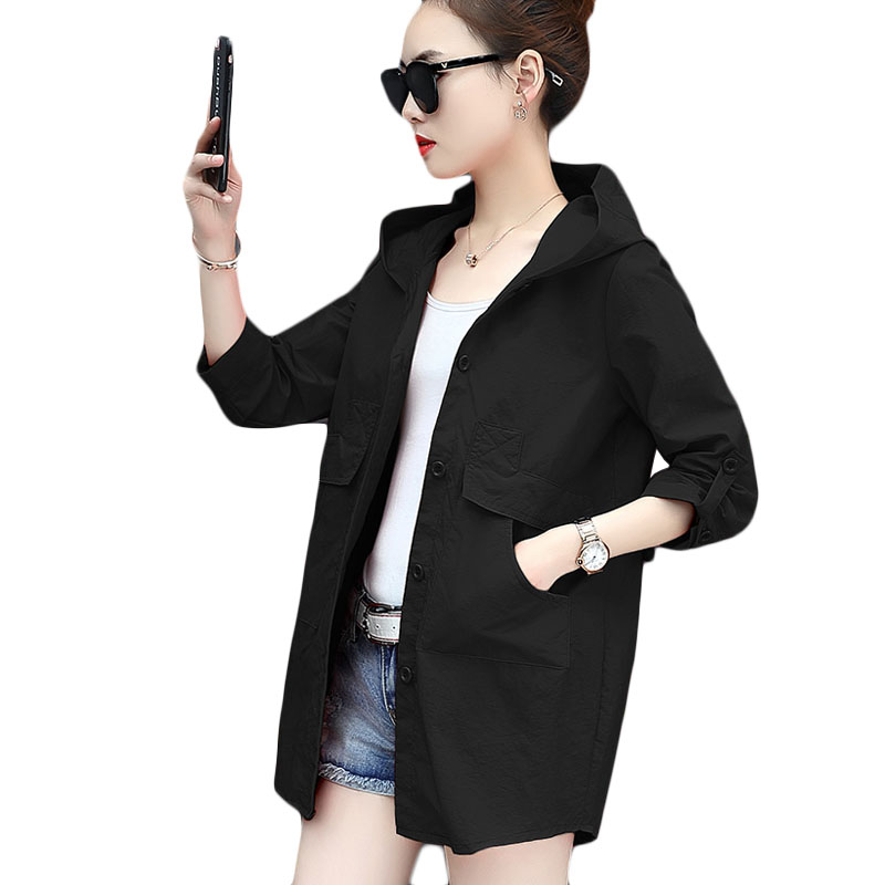 Summer New Windbreaker coat Women Fashion Thin Section Slim Long   Trench   coats Womens Black Casual Hooded Plus size Overcoat a310