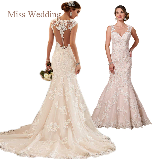 Vintage Inspired Lace Sheath Customized Wedding Dress Luxury Lace ...