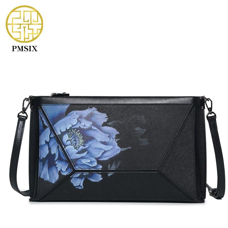 Pmsix New Women Split Leather Phone Bag Vintage Women Shoulder Bags Flowers Pattern Crossbody Bags For Women Mini Messenger Bag stylish various flowers pattern chiffon sarong for women