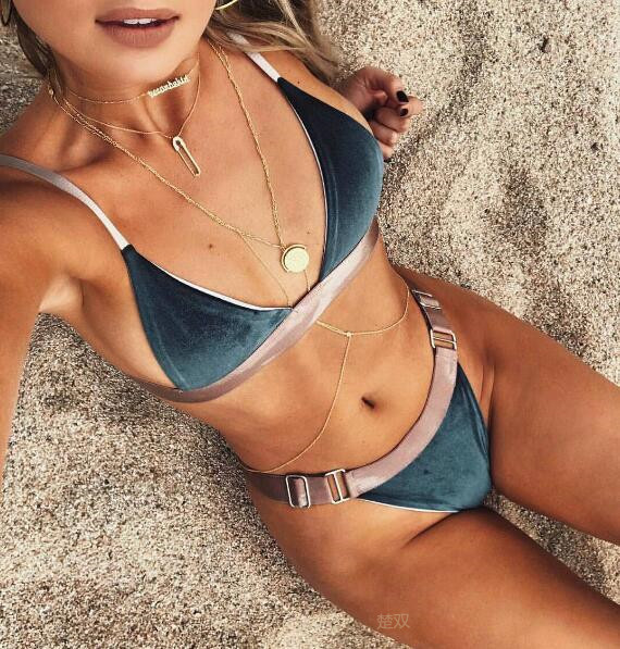 Women Velour Swimsuit LadyBandage Velvet Swimwear Thong Two Piece Bathing Suit For Swimming Surfing Beachwear Bodysuit Lady