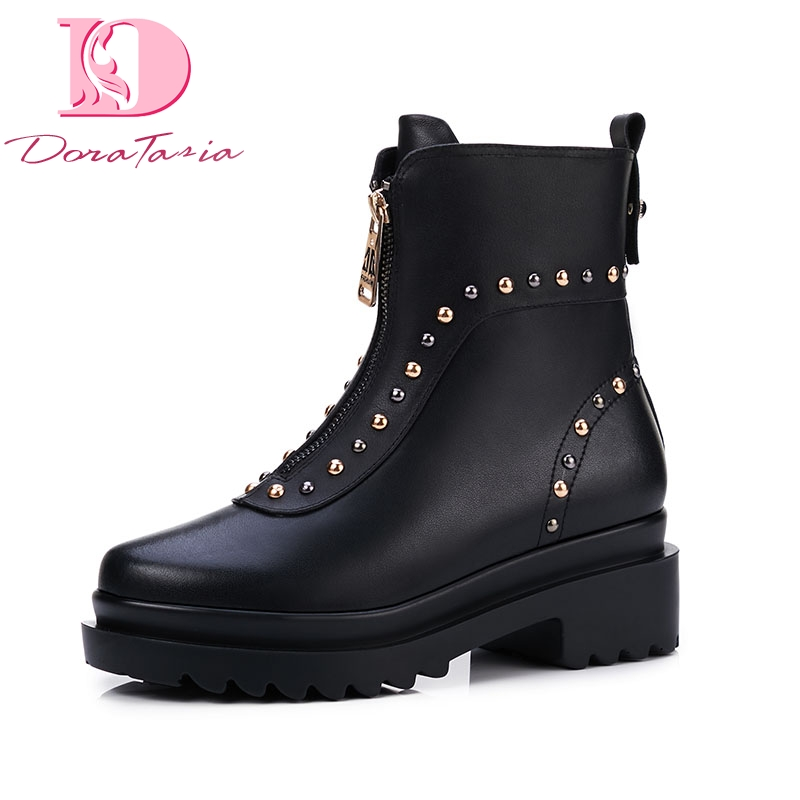 DoraTasia 2019 Brand design natural cow genuine leather best quality martin boots woman fashion rivets women shoes ankle boots