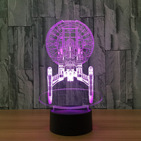 Novelty Usb Led 3d Night Light Mini Led Lights Battery Powered Bedside Table Lamps 7 Color