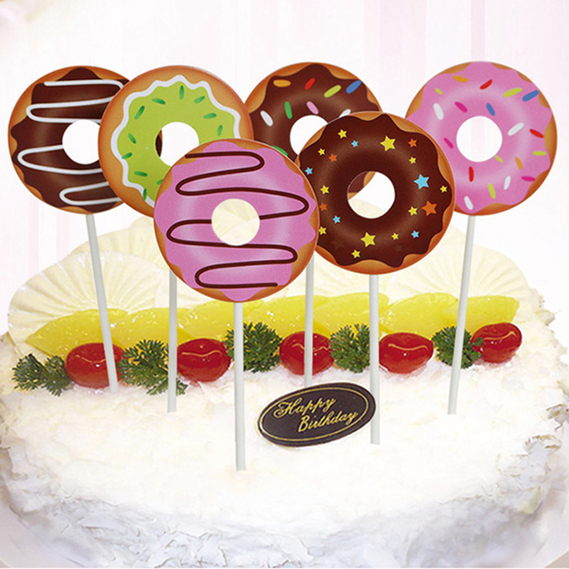 Cyuan Kids Birthday Cake Topper Candy Donuts Cupcake Topper Candy