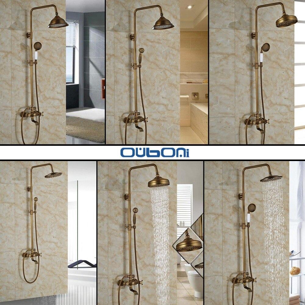 Comprar Lujo nuevo baño montaje en superficie de latón lluvia ducha grifo de latón antiguo con ducha de mano + tub spout de faucet set fiable proveedores en YANKSMART SMRTE Store