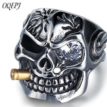 OQEPJ Gothic Skull Shiny Zircon Rings 316L Stainless Steel Prevent allergy Men Ring Unique Exquisite Jewelry Personalized Gifts(China)