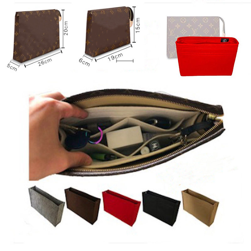 For Toiletry 19/26 Purse Organizer Insert - Premium 3MM Felt (Handmade/20 Colors)