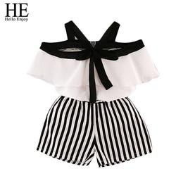 Ele olá desfrutar de verão meninas conjuntos de roupas para crianças moda menina camisa superior + listrado shorts ternos bonito crianças roupas 2 pçs