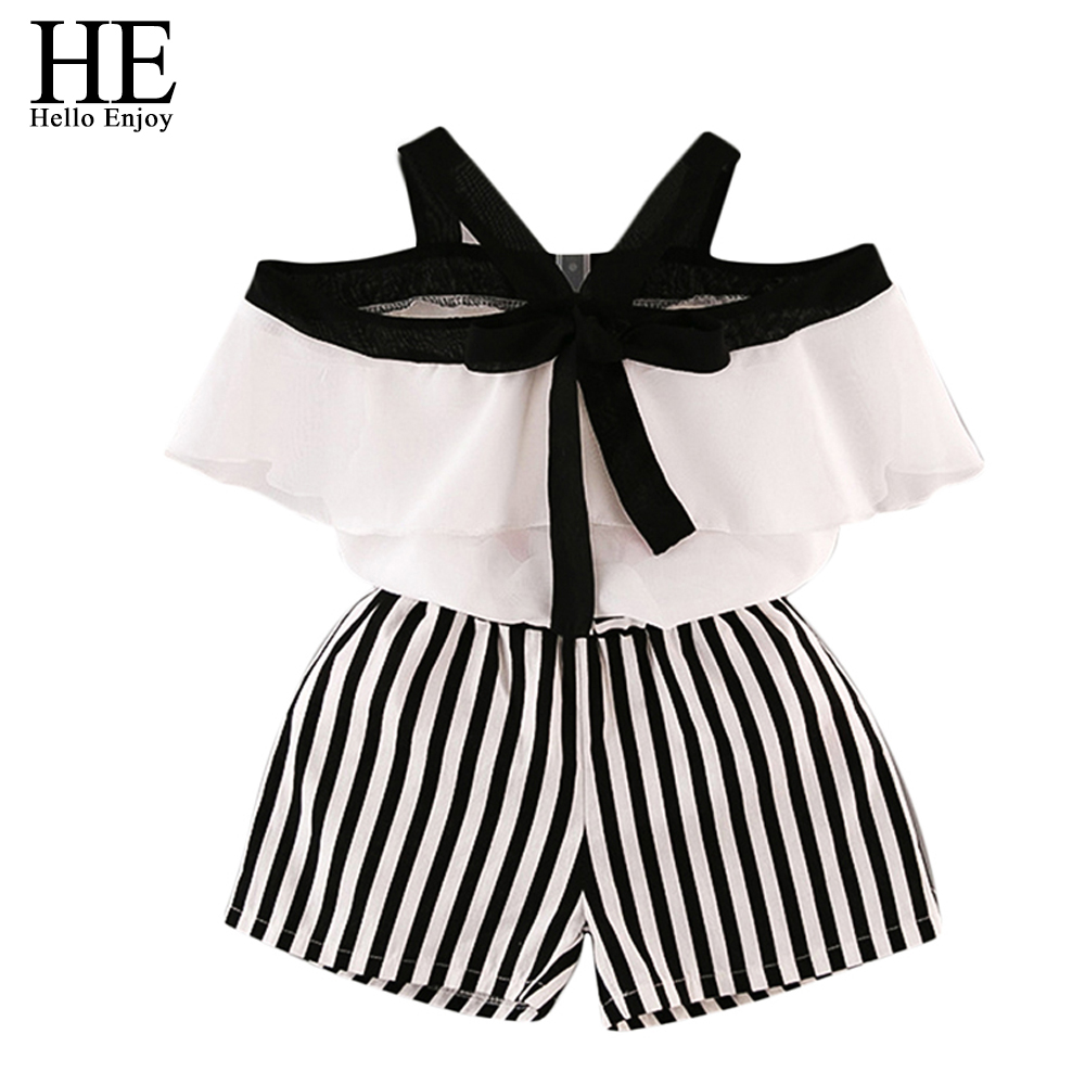 HE Hello Enjoy Summer Girls Clothes Sets Children's Clothing Fashion Girl Shirt Top+Striped Shorts Suits 2018 Kids Clothing 2pcs zaful new cami wrap top with striped shorts tied slip top women crop summer beach stripe top high waisted shorts