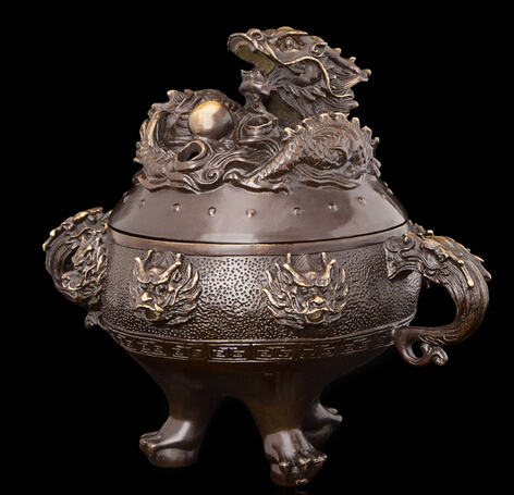 Copper decoration Fine Buddha Brass Chinese Sculpture Style furnishing articles religious Statue Bronze incense burner Home