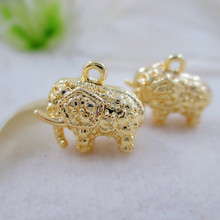 4PCS 13x12MM 24K Gold Color Plated Elephant Necklace Pendants Charms for DIY Jewelry Making Finding Accessories