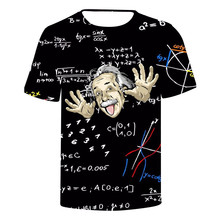 ZOGAA Einsteins 3D digital printed T-shirt round collar fashion tee Funny Print Comical Albert Einstein T shirt men t