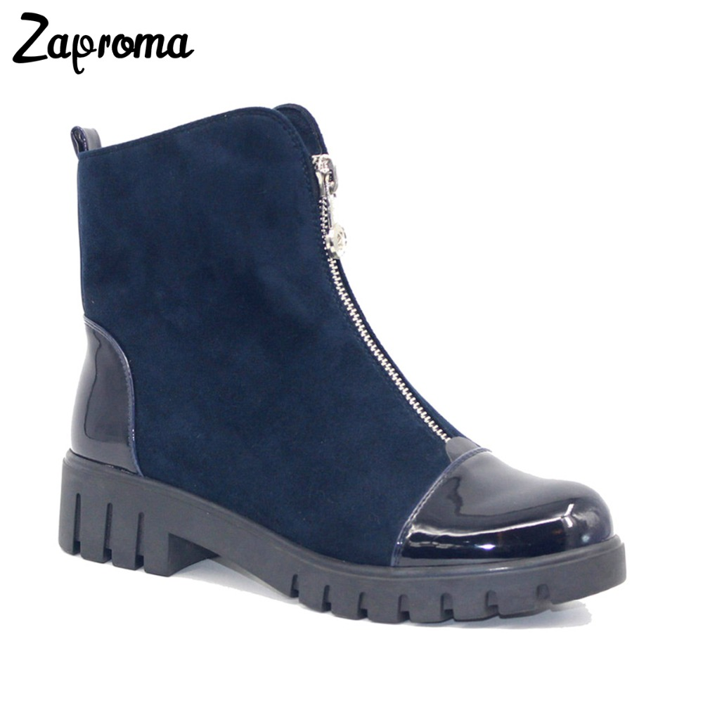 Front Zip Casual Ankle Boots Autumn Winter 2018 Women Suede Navy Blue Med Heel Boots Platform Square Heel Fleeces High Top Shoes high quality suede boots women ankle strap chunky heel black brown fleeces buckles pu shoes winter high heel knee high punk shoe