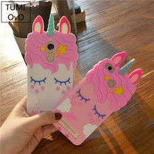 Fashion 3D Cartoon Pink Unicorn Soft Silicone Case For Xiaomi Redmi 3S 4A 4X 5A Cases For Xiaomi Redmi Note 3 Note 4 Note 4X(China)