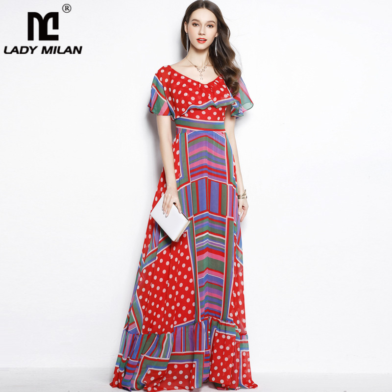 New Arrival 2018 Womens Slash Neckline Sleeveless Printed Ruffles A Line High Street Fashion Long Casual Holiday Dresses