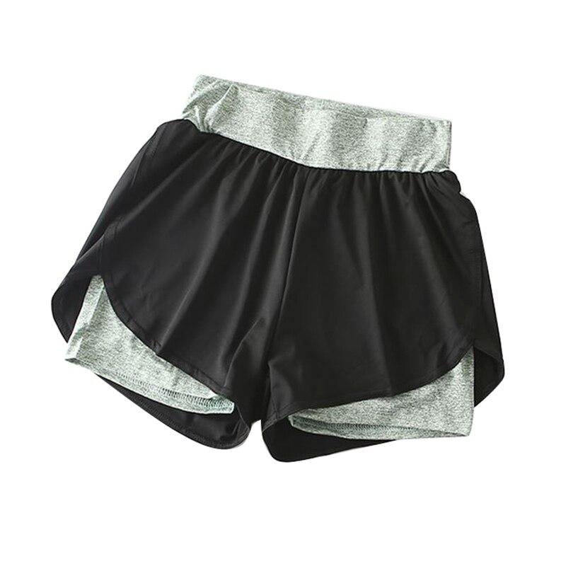 2018 Anti Exposure Fake 2PCS Shorts Women Quick Drying Elastic High Waist Shorts Casual Fitness Female Summer Short Pants