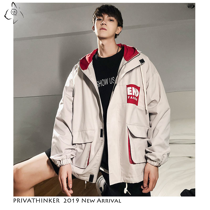 Privathinker 2019 Autumn Man Safari Style Jackets Mens Streetwear Zipper Windbreaker Jackets Male Pockets Casual Jacket Oversize(China)