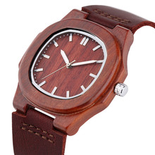 Special Nature Wood Watches for Men Quadrilateral Shape Genuine Leather Leisure Sport Wooden Wristwatches Man Husband Gifts 2017