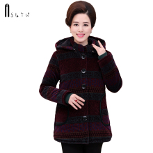 ASLTW Winter Women's Jacket 2017 New Causal Long Sleeve Plus size Jacket With Hooded Corduroy Cotton Mother Coat Parka Woman(China)