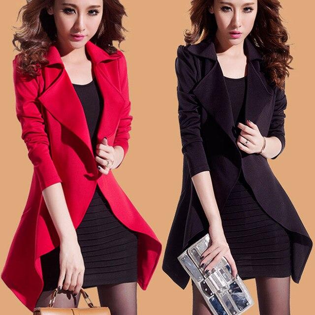 3xl plus big size wind coats women spring autumn winter 2017 feminina black red cardigan thin trench coat female A1716