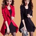 3xl plus tamaño grande abrigos de viento de las mujeres primavera otoño invierno 2016 feminina negro rojo cardigan gabardina fina femenina A1716