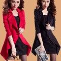 Além disso 3xl big size casacos de vento mulheres primavera outono inverno 2016 feminina preto vermelho cardigan fino casaco trench coat feminino A1716