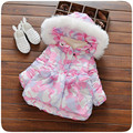 Baby winter jacket girls coats hooded floral printing warm winter coat girls thick outwear princess  winter jackets for girls