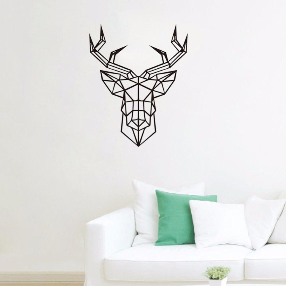 Geometric Animals Deer Vinyl Wall Decals Modern Style ...