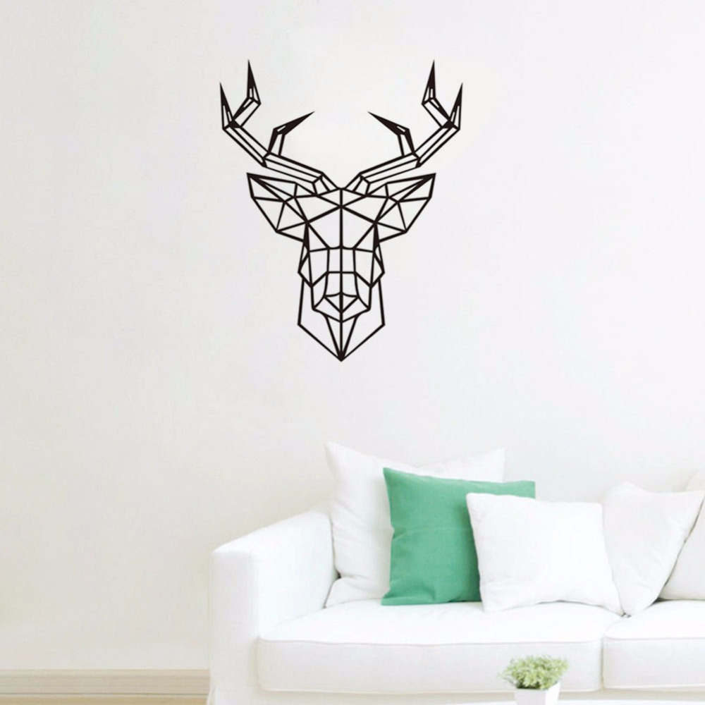 3d poster design online - Geometric Animals Deer Vinyl Wall Decals Modern Style Creative Design Home Decor Decoration 3d Wall Sticker