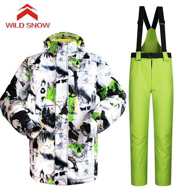 ✅Nieve salvaje traje de esquí hombres invierno cálido esquí ...