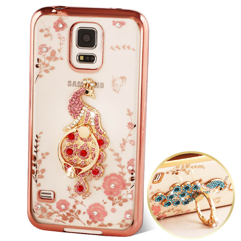 Luxury Rhinestone stand holder case cover For Samsung Galaxy S5 case Silicone I9600 TPU protective diamond for samsung S5 Case