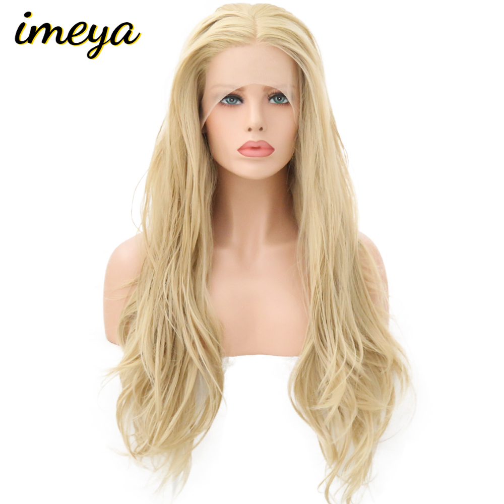 Imeya Water Wave Heat Resistant Hair Wigs Synthetic Lace Front Wig With Natural Hairline 150%Density Blonde Color(China)