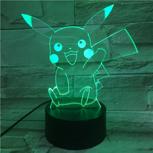 Pokemon Go Pikachu Figure Kids Nightlight LED Bedside Atmosphere Colorful Night Light Child Holiday Gift 3D Lamp RGB