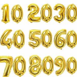 32-дюймовый Цифровой шар 10-го, 30-го, 40-го, 60-го, 70-го, 80-го, 90-го, вечерние украшения на день рождения, юбилей, золотой, серебряный