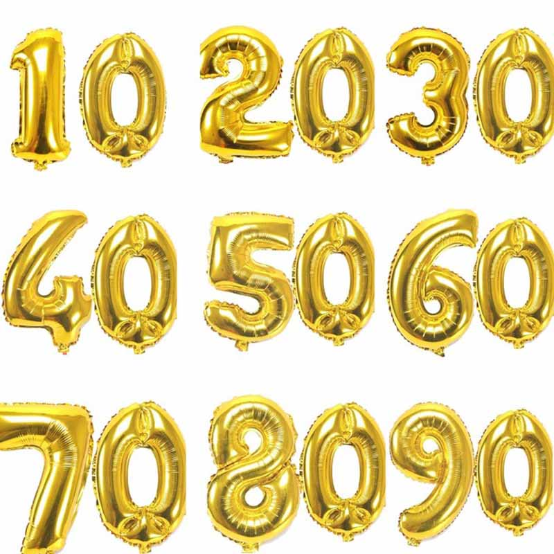 32 inch Digit Balloon 10th 20th 30th 40th 50th 60th <font><b>70th</b></font> 80th 90th adult <font><b>Birthday</b></font> party Anniversary Decoration favor gold silver image