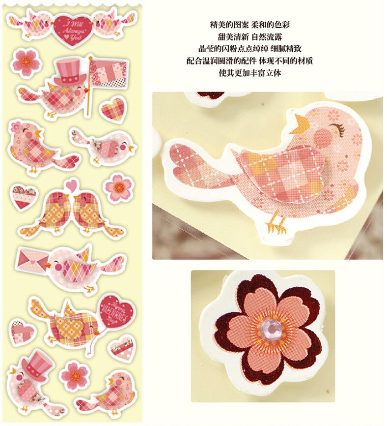 5 Sets Of Sweet Birds Scrapbooking Stickers For Valentinewedding