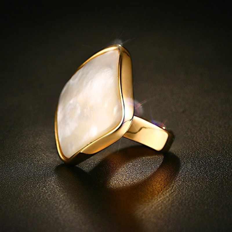 Elegant Wit Natuurlijke Shell Steen Ringen Voor Vrouwen Goud-Kleur Trendy Rvs Wedding Bands