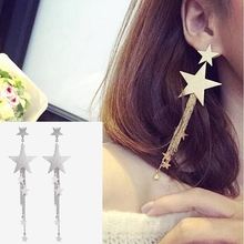 Hot Style High Quality Fashion Long Pendant Personality Temperament Star Tassel Earrings Birthday Gift