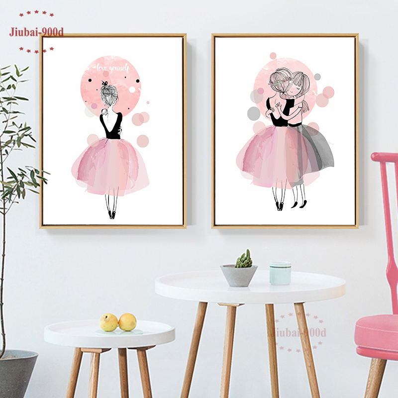 900D Watercolor Cartoon Girls Poster Wall Pictures for Girl Room Canvas Painting Picture Wall Painting Decorative Pictures CM022 in Painting Calligraphy from Home Garden